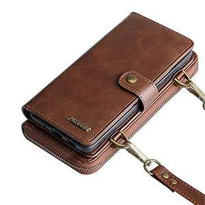 Wallet Case, Compatible with 12/12 Pro Flip Case, Vintage Leather Magnetic Closure Detachable Wallet Case with Card Slots and Detachable Hand Strap