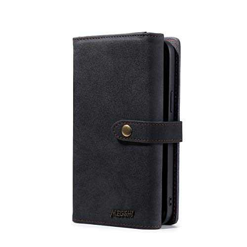 Wallet Case, Compatible with 12 Mini Flip Case, Vintage Leather Magnetic Closure Detachable Wallet Case with Card Slots and Detachable Hand Strap