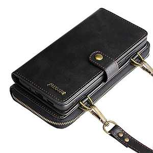 Wallet Case, Compatible with 12Mini Flip Case, Vintage Leather Magnetic Closure Detachable Wallet Case with Card Slots and Detachable Hand Strap
