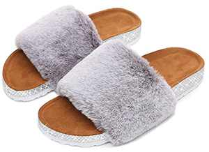 Womens Fuzzy House Slippers Fluffy Faux Fur Flat Slides Sandals for Indoor and Outdoor Grey Size 6