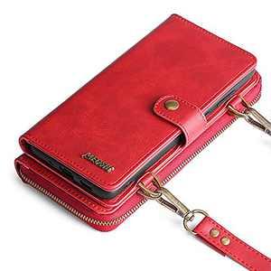 Wallet Case, Compatible with 12 Pro Max Flip Case, Vintage Leather Magnetic Closure Detachable Wallet Case with Card Slots and Detachable Hand Strap