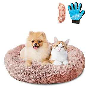 """Dog Bed Cat Bed Donut, Akcmpet Faux Fur Pet Bed Calming Bed for for Large Medium Small Dogs and Cats (24""""/28""""/32"""") (Medium(24''X 24''), Pink)"""