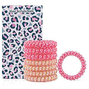 8 Pcs Spiral Hair Ties-Hair Bands Coil Hair Accessories for Active Women-Hair Scrunchies Strong Grip, No Rip, Water Resistant, No Crease hair bands-Hair Elastics for Women (Pink-Pale yellow)