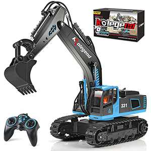 kolegend Remote Control Excavator Toy Truck, 1/18 Scale RC Toys Hydraulic Excavator Construction Vehicles for Boys Girls Kids RC Tractor with Rechargeable Battery Blue