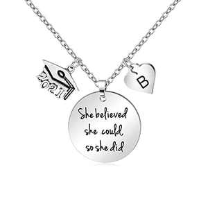 Graduation Gifts for Her Initial B Class of 2021 She Believed She Could So She Did Necklaces Dainty Love Heart Pendant Jewelry for Women Teenage Girls Seniors Friends Classmates Daughter Niece