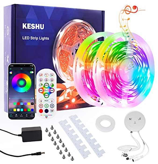 LED Strip Lights 15M KESHU Led Lights for Bedroom Led Strip Lights with Remote Bluetooth App Control Music Multiple Color Changing Lights for Living Room Kitchen Home Indoor