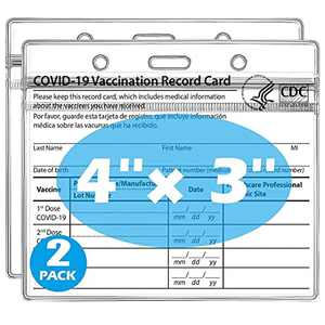 Vaccination Card Protector 4 X 3 Inches, Immunization Record CDC Vaccine Cards Holder With Clear Vinyl Plastic Sleeve, Waterproof Type Resealable Zip (2 Pack)