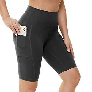 """HIGHDAYS Biker Shorts with Pockets for Women - 8"""" High Waist Non See Through Spandex Shorts for Summer Running Yoga Athletic Black"""