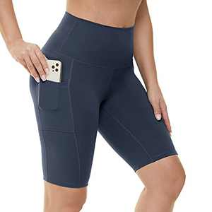 """HIGHDAYS Biker Shorts with Pockets for Women - 8"""" High Waist Non See Through Spandex Shorts for Summer Running Yoga Athletic Navy Blue"""