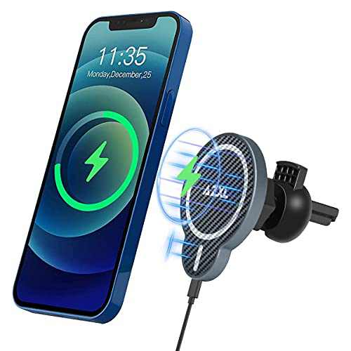 AZXL QI Magnetic Wireless Car Charger Aluminum Alloy Shell 15W Fast Charg Car Phone Mount Auto-Clamping Air Vent Holder Fast Charging Stand for iPhone 12/12 Pro/Pro Max/12 Mini