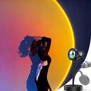 Riemafreda Sunset Lamp LED Projection Light, 360 Degree Rotation Sunset Night Light, USB Romantic Rainbow Projection Lamp for Party Theme Bedroom Decor (Sunset Red)