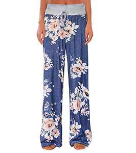 IZZY + TOBY Women Lightweight Full Length Lounge Pant Soft Straight Leg Pajama Pant Floral Print Bottom Blue Small