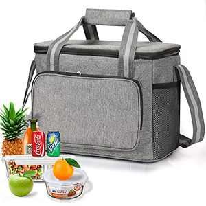 Insulated Lunch Bag for Women&Men, 15L Large Leakproof Waterproof Reusable Lunch box, Thermal Cold Insulated Bags with Adjustable Strap, Cooling Tote for Work Office Picnic Hiking (Gray)
