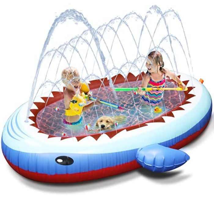 Tobeape Sprinkler Pad & Paddling Pools for Kids, Inflatable Sprinkler Swimming Pool Kiddie Pools for Backyard Garden, Outdoor Summer Water Toys for Toddler Boys Girls
