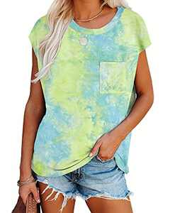 Imily Bela Womens Summer Tie Dye Cap Sleeve Tshirts Casual Loose Tops with Pocket