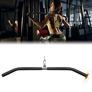 LAT Pull Down Bar with Full Wrapped, Cable Machine Bar Attachment for Gym, Triceps Biceps Pushdown bar Liftup Strength Training for Home Gym (1.4Wx33L)