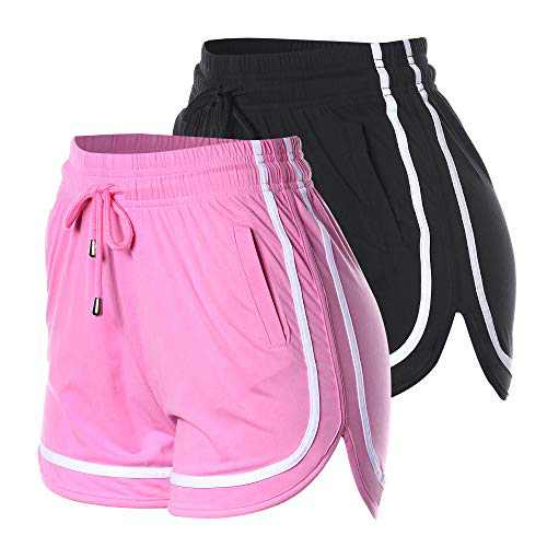 VALINNA 2 Pack Running Soccer Athletic Shorts Summer Lounge Short Pants for Teens and Youth (Large/X-Large, 2P2012-Black-Pink)