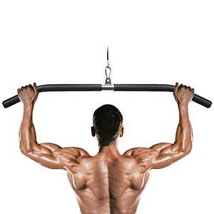 Lyndwin LAT Pull Down Bar with Full Wrapped, Cable Machine Bar Attachment for Gym, Triceps Biceps Pushdown bar Liftup Strength Training for Home Gym (1.2Wx37L)