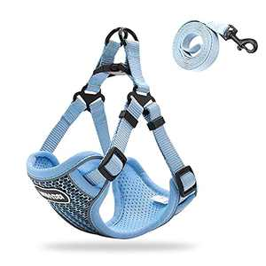 Dog Harness Double-Layer Breathable Adjustable Step-in Air Dog Vest Harness with Reflective Soft Easy Control Soft Mesh Comfort Fit Double Padded Vest with Adjustable Neck and Chest(Blue S)