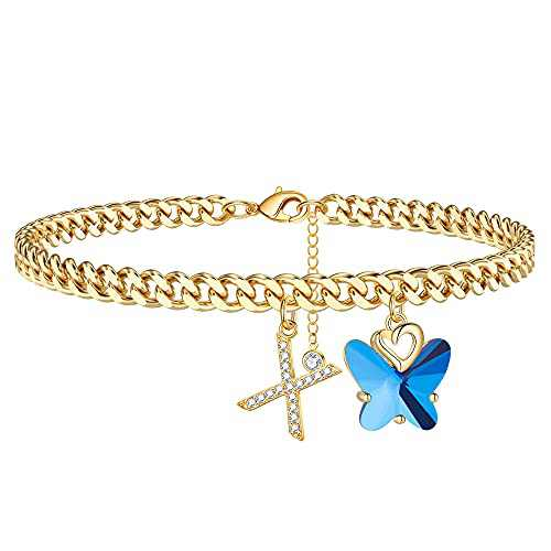 Ankle Bracelets for Women Initial Anklet, 14K Gold Plated Cuban Chain Anklets for Women Cute Butterfly Anklet Gold Anklets for Women Girls(X)