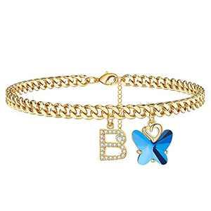 Ankle Bracelets for Women Initial Anklet, 14K Gold Anklets for Women Cute Butterfly Anklets with Initials Gold Anklets for Women Girls(B)