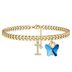 Ankle Bracelets for Women Initial Anklet, 14K Gold Plated Cuban Chain Anklets for Women Cute Butterfly Anklet Gold Anklets for Women Girls(I)