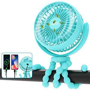 Portable Stroller Fan, 42H 10000mAh Battery Operated Fan Flexible Tripod Clip On Small Fan for Baby Stroller/Carseat/Golf Cart/Camping/Travel, Handheld Personal Cooling Baby Fans, Used As Power Bank