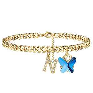 Ankle Bracelets for Women Ankle Bracelets, 14K Gold Plated Cuban Chain Anklets for Women Butterfly Anklets Women's Anklets Ankle Bracelets for Women (N)