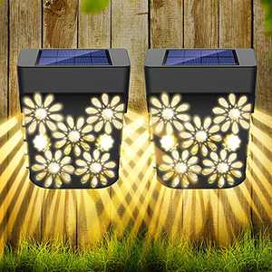Molbory Solar Deck Lights Outdoor - Solar Fence Wall Lights Led Garden Decorative Lighting Waterproof Automatic Solar Step Lights Solar Powered Fence Lights for Post Front Door Stair Pool Backyard