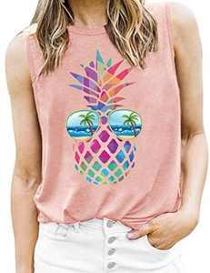 T&Twenties Women Colorful Pineapple Tank Tops Funny Sunglasses Beach Tanks Cute Graphic Summer Vacation Tunic Vest Shirt