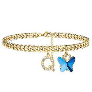 Ankle Bracelets for Women Ankle Bracelets, 14K Gold Plated Cuban Chain Anklets for Women Butterfly Anklets Women's Anklets Ankle Bracelets for Women (Q)