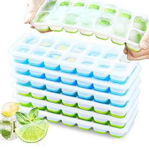 VEHHE Ice Cube Trays 6 PACK, Reusable Silicone 14-Ice Cube Trays with Spill-Resistant Removable Lid, Flexible and Odorless, for Whiskey and Cocktails