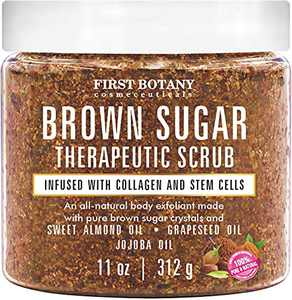 Brown Sugar Natural Body Scrub - Infused with Collagen & Stem Cell - Natural Exfoliating Sugar Scrub & Face & Body Polish helps with Moisturizing Skin, Acne, As a Cellulite Cream, Skin Scars, Wrinkles, Stretch Marks, Dry Feet, Great Gifts 11 oz