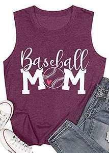 Women Baseball Mom Heart Print Tank Tops Casual Love Baseball Mom Life Vest Baseball Muscle Workout Shirt Purple