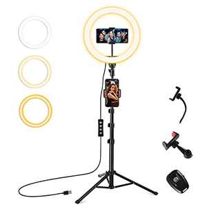 """WinCret 12"""" LED Selfie Ring Light with Flexible Tripod Stand & Phone Holder, Dimmable Makeup Ring Light for Photography, Shooting with 10 Brightness Level & 3 Light Mode…"""