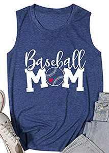 Women Baseball Mom Heart Print Tank Tops Casual Love Baseball Mom Life Vest Baseball Muscle Workout Shirt Blue