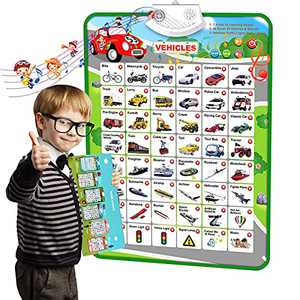 Electronic Interactive Vehicles Talking Wall Chart with Sound,Music Poster,Quizzes,Car Vehicle Recognition Game,Early Childhood Fun Learning Development Toy Gift for Toddler,Kids,Boys,Girls,Preschool