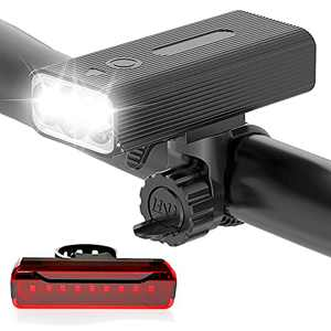 Bike Lights Front and Back - LONJIQIO USB Rechargeable Bicycle Light for Night Riding ,Super Bright Bike Headlight , 5 Modes Bike Tail Light,Power Bank Function,IPX5 Waterproof Fits for All Bikes