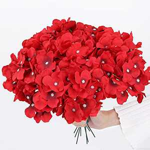 Hydrangea Artificial Flowers, IPOPU 10PCS Red Flowers with Long Stems Faux Flowers Bouquets Decorative Flowers for Wedding Decorations Baby Showers DIY Crafts (Red)