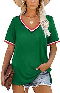 OWIN Women T Shirts V Neck Casual Side Split Short Sleeve Loose Fit Tunic Tops Summer Blouse Green S
