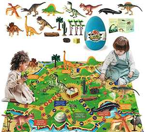 Dinosaur Toys Figure Playset with Activity Play Mat Educational Realistic Dinosaur Figures to Create a Dino World, Dinosaur Playset Gifts for Boy&Girl 3,4,5,6,7,8 Years Old
