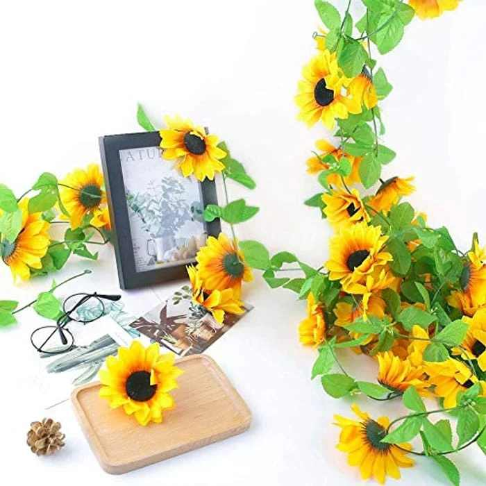 Moseem 2 PCS Artificial Sunflower Garland with Green Leaves, Fake Plants Flowers Wall Hanging Vine Plants Artificial Ivy for DIY Wreath, Home Wedding Garden Party Office Decorate