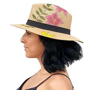 Sowift Straw Panama Hat Fedora Beach Sun Hat Wide Brim Cap Summer Sun Visor Hat Travel UV Protection for Women