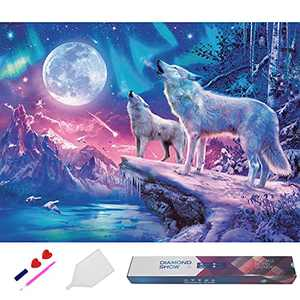"""Vabiean DIY 5D Diamond Painting Full Drill, White Wolf Under Moon Animals Diamond Painting by Number Kits, 12""""x16"""" Crystal Gem Arts Drawing Gifts for Adults&Kids, Mosaic Wall Picture Decoration"""