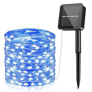 Solar Fairy Lights 85Ft 240 LED, Solar/USB Powered String Lights Indoor/Outdoor Waterproof, Solar Copper Wire Lights with 8 Modes Decorative for Patio Yard Trees Christmas Wedding Party, Blue