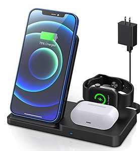 Wireless Charging Station, ETEPEHI Adjustable Wireless Charger Compatible with iPhone 12/ Pro/Mini/11/Pro/Xr/Xs Max/SE/Airpods 2/Pro/iWatch Series, Foldable Charging Stand for Smartphones with Plug