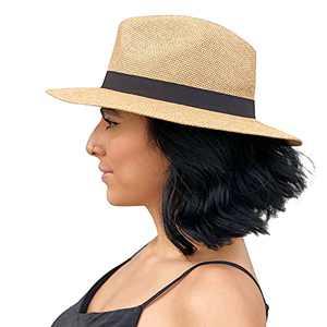 Sowift Straw Panama Hat Fedora Beach Sun Hat Wide Brim Cap Summer Sun Visor Hat Travel UV Protection for Women Brown