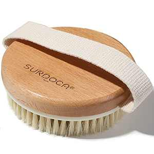 SURDOCA Dry Brush, Body Exfoliating Scrubber with Massage Nodules, Bath Shower Brushes for Improve Circulation, Cellulite and Lymphatic Remover (Natural Beech Wood & PP Bristles)