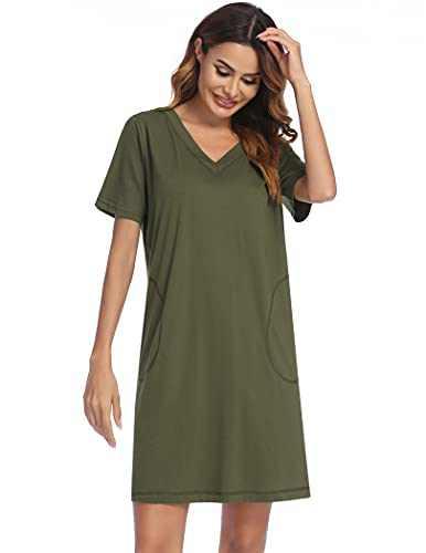 Ekouaer Nightgowns Women's Sleepwear Short Sleeve Loungewear V Neck Pjs Nightwear Casual Nightshirt Lounge Dress S-XXL