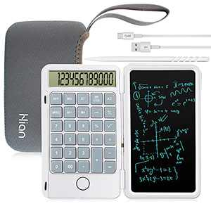 Hion Calculator,12-Digit Large Display Office Desk Calcultors with Erasable Writing Table,Rechargeable Hand held Multi-Function Mute Pocket Desktop Calculator for Basic Financial Home School,White